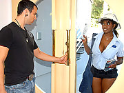 Big brown booty mail woman gets her box ripped open after delivering the mail in these brown pounding vids