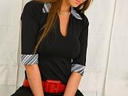 Secretary strips black miniskirt