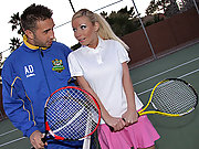 Helena plays with a better pair of balls instead of playing tennis
