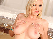Busty blonde Ariel srtipping & showing her nice huge tits