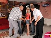 Four guys use Aletta for bukkake
