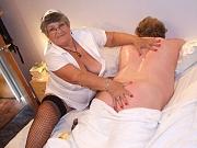 Granny nurse in uniform BJ and fuck