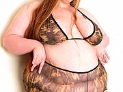 Busty bbw strips out of camo bikini