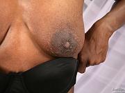 Slim Ebony MILF Olly saggy tits