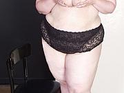 Bbw in black lace bra and panties