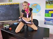 Schoolgirl Katie Kox in pigtails