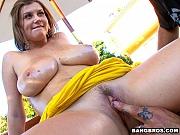 Busty Sara Stone milks cock cum