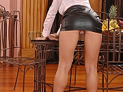 Kitty Cat babe strips leather skirt