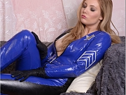 Hot blonde Sheriff teasing in skin tight leather catsuit
