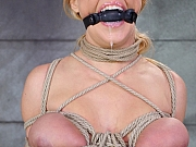 Darling busty bdsm blonde bound with ballgag and made to orgasm