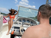 Alexis Brill strips her bikini on a boat and sucks captains cock