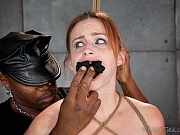 Bella Rossi rope bound redhead gagged and vibrated to wet orgasm