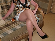 Curvy granny in sheer slip and stockings strips and spreads