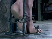 Siouxsie Q is metal bound in dungeon with electro made to orgasm