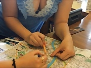 College girl guiding route map while a guy shoots her boobs