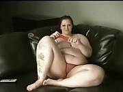 Cute Redhead BBW Vibes Her Pussy to Orgasm
