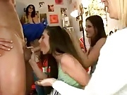 Horny College Girls Sucking The Strippers Cock