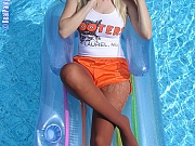 Topless Blonde Hooters Girl In Pantyhose In A Swimming Pool
