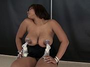 More busty lactating Latina Perla double pumping milk
