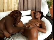 Two thick sexy big booty black lesbians share a double dildo