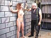 Old guy punishes hot brunette sex slave