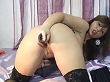 Girl with big boobs play with toys