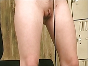 Small breasted chick works out and fucks her cunt with dildo