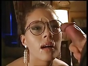 Glasses Blonde Works A Cock To A Big Release