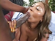 Cleo: blowjob with long gold nails