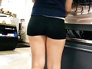 Very nice candid booty on short teen