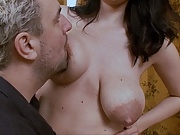 Titsucking lactating boobs. huge areolas leaking mommy milk