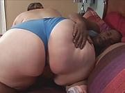 BBW slut gives sloppy blowjob before black hunks bangs her