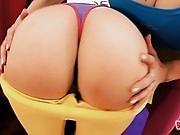 Huge Ass Blonde Teen Doing Hot Yoga With Her Round Ass GF