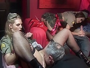 Naughty bitches share cumload after hardcore orgy session