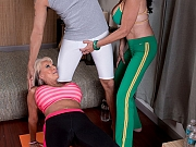 Sally D'Angelo and Rita Daniels sharing a Cock in FFM Sex