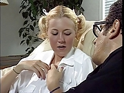 Schoolgirl strips and masturbates before getting fucked