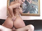 Slut with amazing tits moans with pleasure during banging