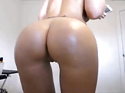 Blond big round ass & boobs shaved cameltoe pussy