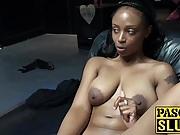 Amazing big tits ebony Lola playing with pink vibrator