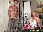 Bigboob cougar stroking young blokes cock