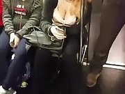Candid downblouse in subway #5