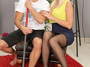 Lilly Peterson busty blonde in stockings fucks with cleaner