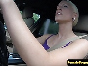 European female cabbie fucked on backseat