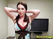 Bigboobs mature stroking cock between tits