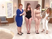 Lovely big asses in a tv underwear store