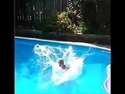 Jamie Savannah Drives In Pool Black String Bikini