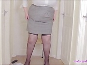 Secretary in peephole bra