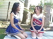 Cheerleader sluts lick each other's hole outdoors