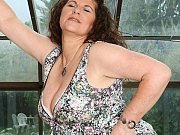 Gilly Sampson busty mom in dress and stockings strips