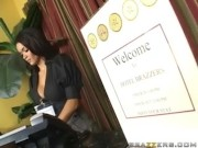 Hot Receptionist Daisy Marie sex with hotel guest.